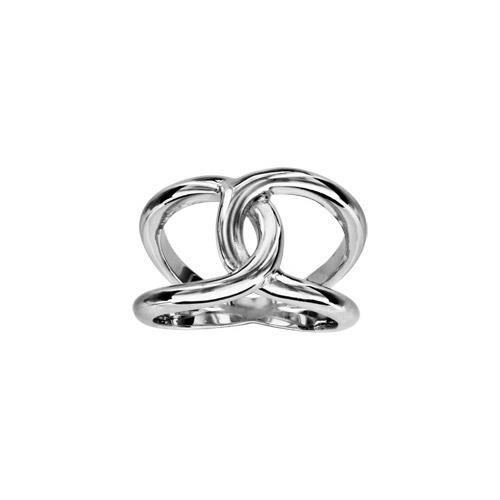 Bague argent rhodié massif 2 anneaux croisés - tou