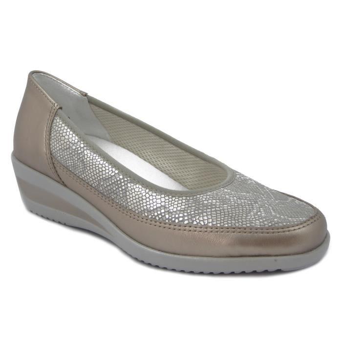 ARA femme Chaussures décolleté en cuir de platine lisse et imprimé, semelle intérieure amovible, talon 4cm., 1234020 E17