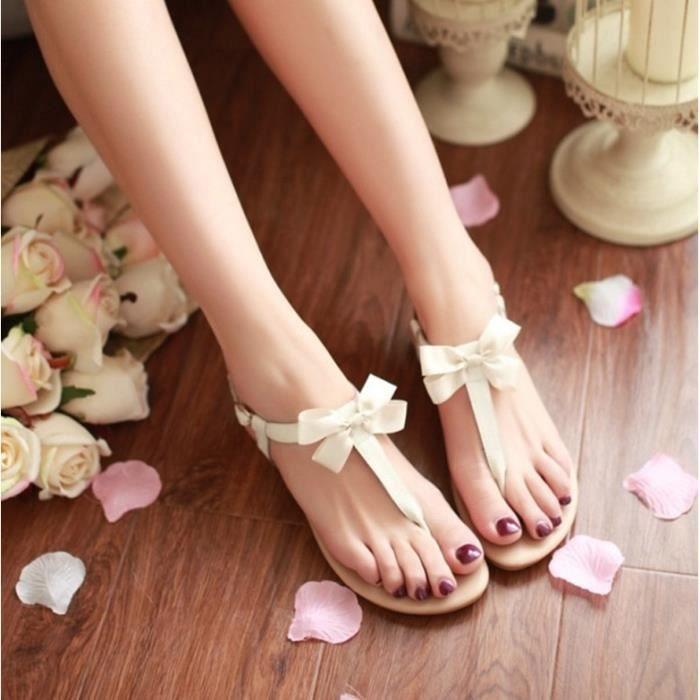 Sandales femme plat véritable cuir nouvelle mode vente chaude papillon-noeud