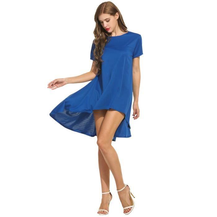 Craze robe de cou en mousseline de v solides manches longues taille dajustement lâche élastique DOASP