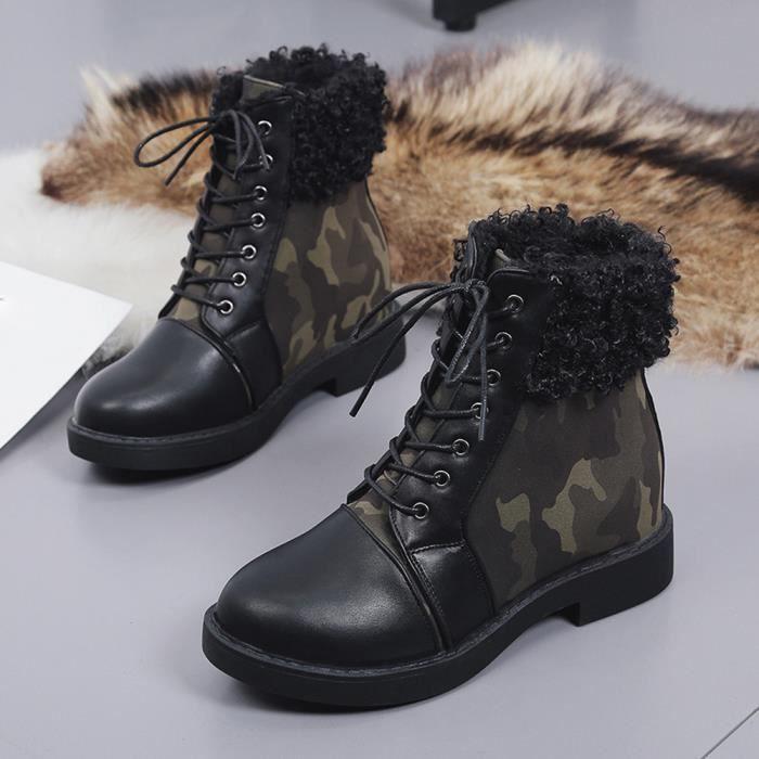 Femmes Hiver Cheville Bottes Dames Armée Combat Grip Plat Fourrure Doublé  Chaussures  AG 6411e4395a27