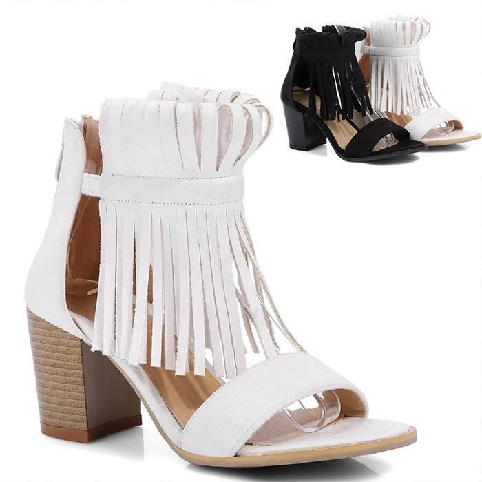 Doux Tassel Sandales Mode Gros Talon Femmes & # 39; s Chaussures d'été Gladiator Sandales Taille Plus Chaussures Femmes