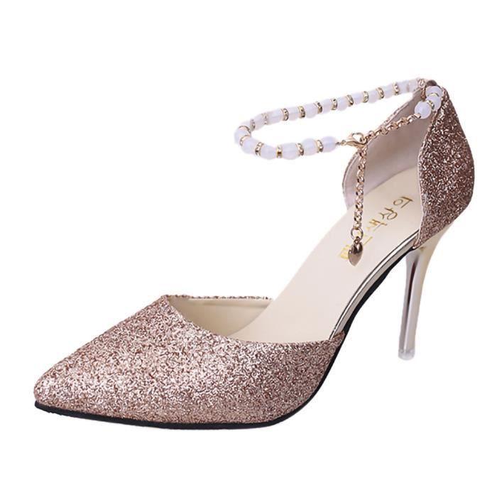Boucle À Beaux Seule Chaussures Pointu Femmes Sandales Sexy Parole Une Loisirs Talon Or Kanyrne ZPwA88
