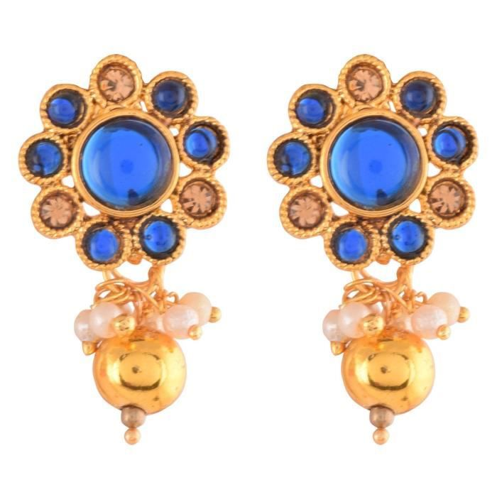 Womens Traditional Temple Design Blue Gold Plated Pendant Necklace Set For & (10598) 10598 PBMLZ