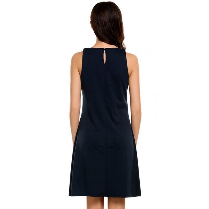 Robe femmes Casual v-cou sans manches solides a-ligne plissée Hem Elatic réservoir