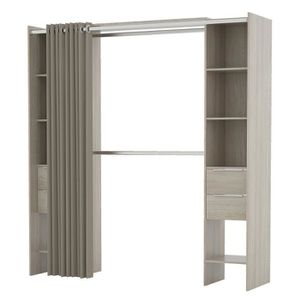 AMENAGEMENT DRESSING DANA Kit placard extensible + rideau contemporain