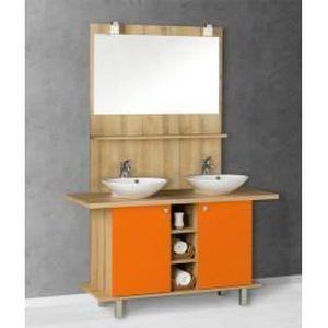 Meuble salle de bain Biarritz 136 cm orange - Achat / Vente salle de ...