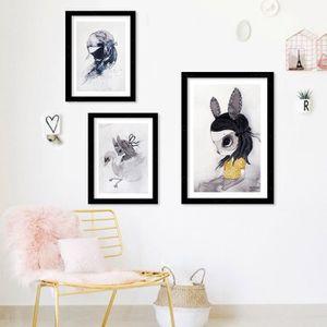 PEINTURE A L'HUILE Moderne filles de lapin nordiques Imprimer Affiche