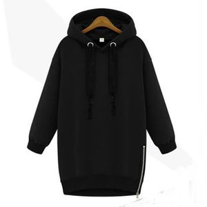 PULL Noir Sweatshirt Femme Mi-longue avec Capuche Manch