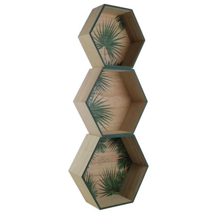 Hexagonales - Bois - Dimensions : 35x11x30 cm - Beige et vertETAGERE MURALE - ECHELLE ETAGERE