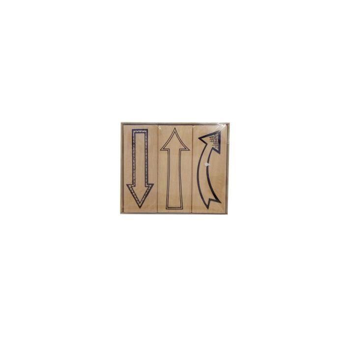 Tampons flèches - 52x22 - 58x20 mm - Tampons en caoutchouc - Monté sur bloc en bois - Paquet de 3TAMPON ENCREUR DE DECORATION