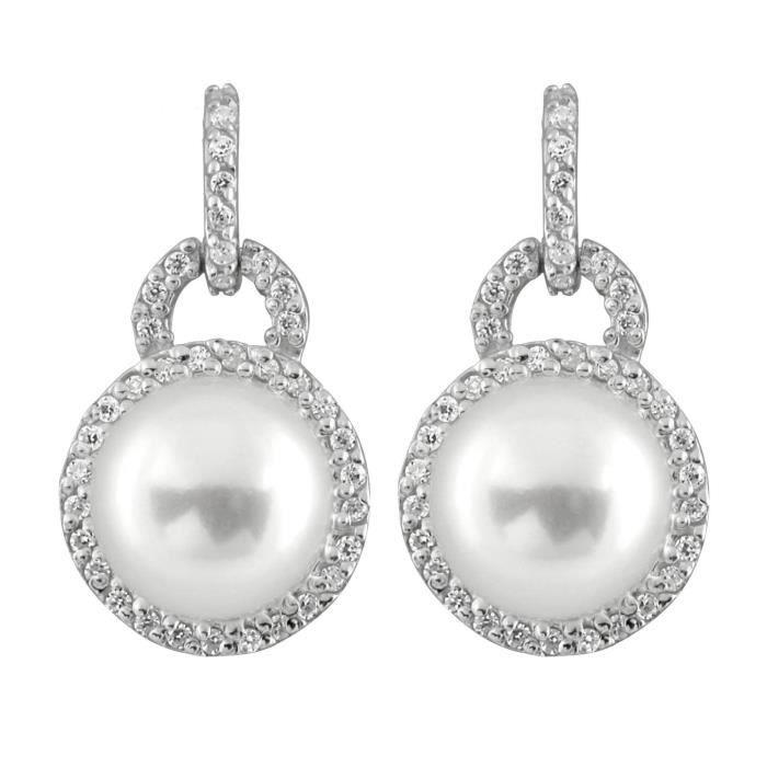 Bella Perles Oxyde De Zirconium Et Perle Deau Douce–boucles Doreilles Pendantes Femme–argent 925-1000 EDPF4