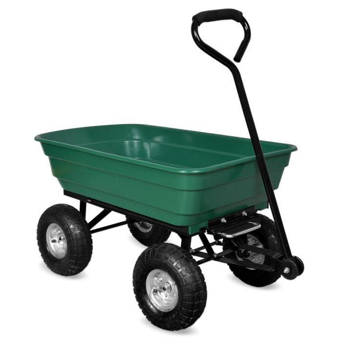 2 en 1 chariot de jardin ? main et remorque benne basculante charge max.  300 Kg