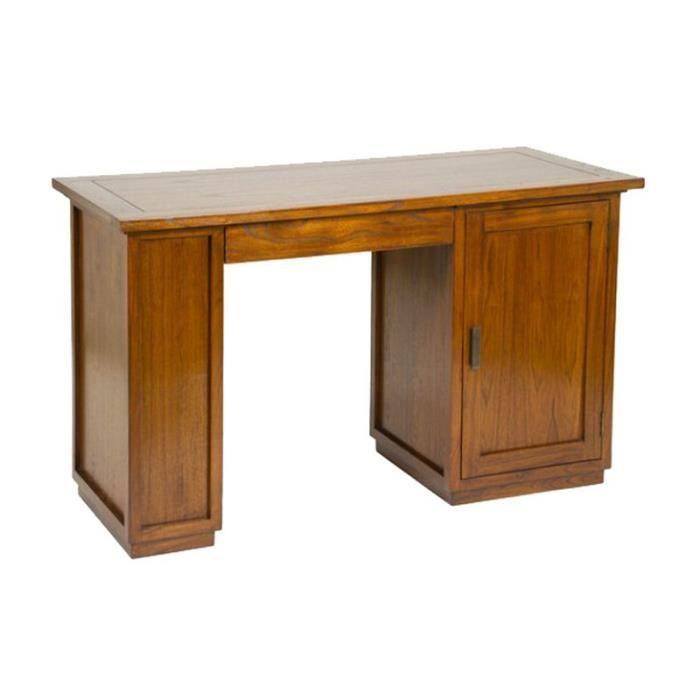 Bureau bois massif noyer style cuba 130cm achat vente for Bureau bois massif