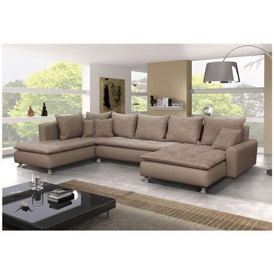 Canap d 39 angle conv u nano taupe angle gauche achat vente canap sofa divan soldes - Canape cuir en u ...