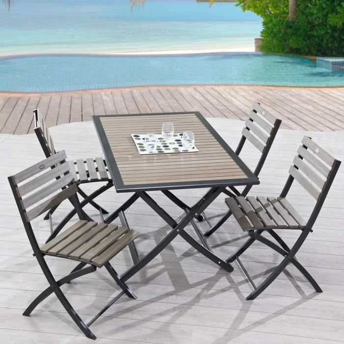 Ensemble table et 4 chaises pliantes en bois composite et for Table pliante 6 personnes