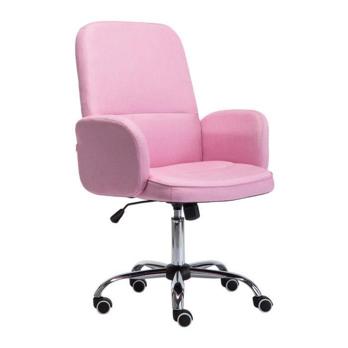 Chaise De Bureau Tissu Pivot Rose Reglable H 93 101cm Pour Femme