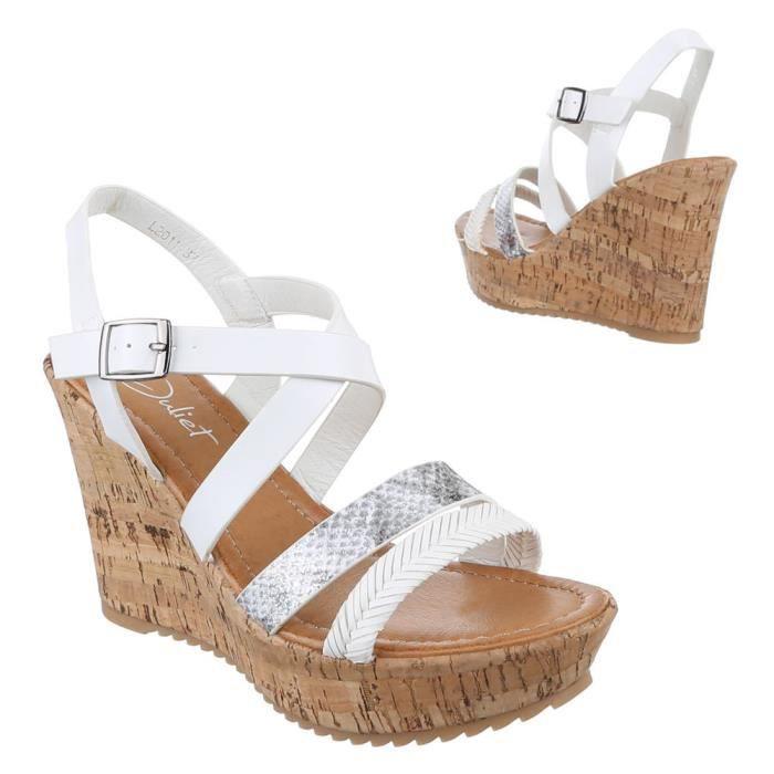 Chaussures femmes sandales cale talon Escarpins boucle