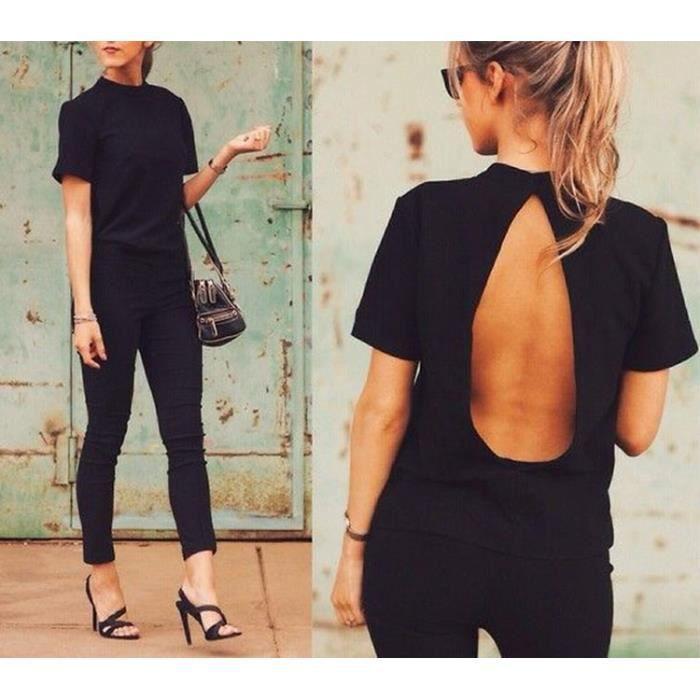 71da3654ec7d9 T-shirt femme col haut ras du cou dos trou nu sexy OL manches courtes  moulant élégante vintage coton-Noir