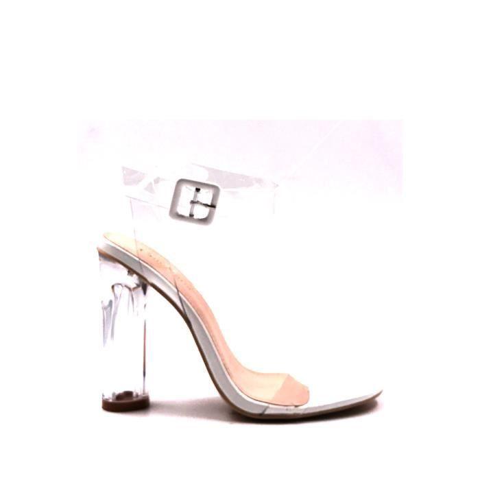 CHIC NANA . Chaussure Femme Mode Escarpin à talon transparent, bride cheville transparent en couleur Rose 41.