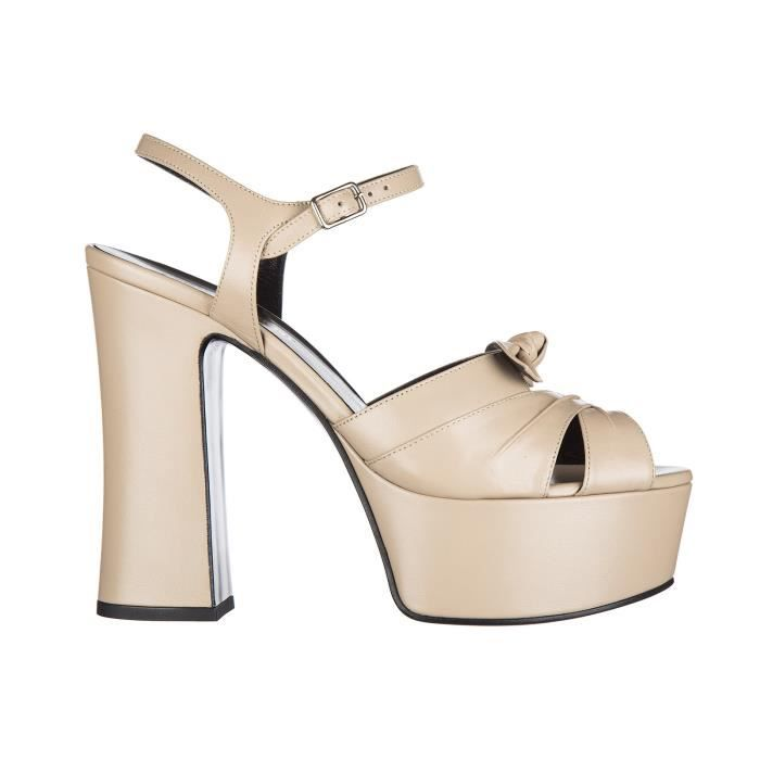 Sandales femme 'plateforme en cuir tripon Saint Laurent Paris B2B4MIo