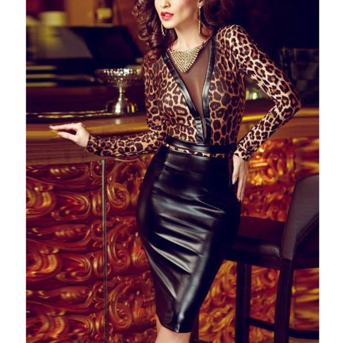 Clubwear Noir Bodycon Robe Transparente Taille Moulante Court Cuir Cocktail Voile Wonder Vinyle Beauty® Grande Léopard 4Rj53AL