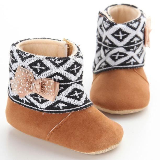Bébé bambin enfant bottes de neige semelles molles prémarcheur chaussures marron