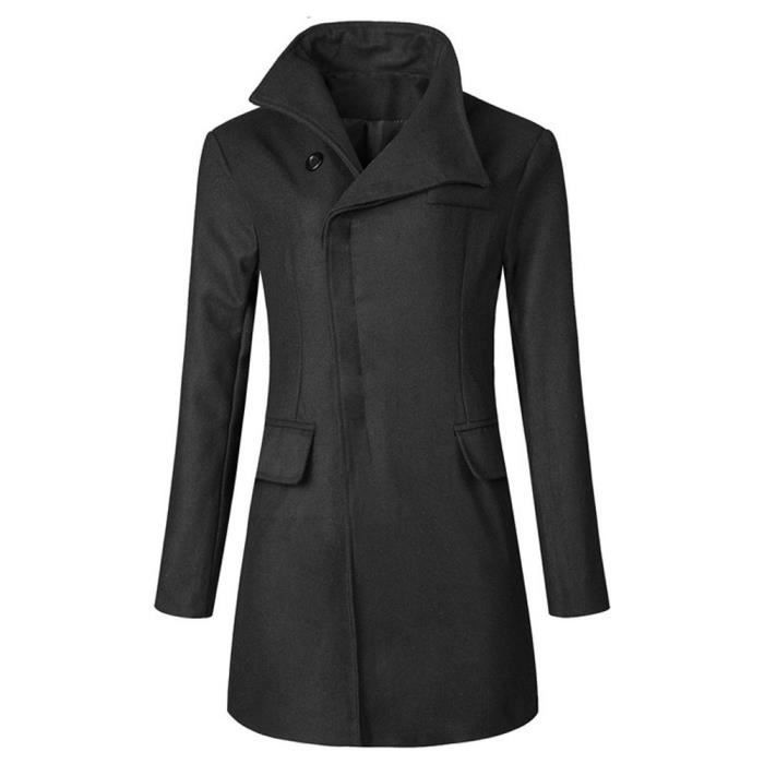 Hommes Caban Hiver hommes Trench chaud Thicken Veste Caban long Pardessus Outwear @Noir