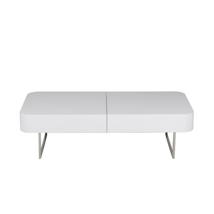 table extensible laquee blanc 120 cm achat vente pas cher. Black Bedroom Furniture Sets. Home Design Ideas