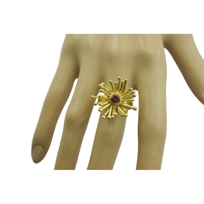 anneau de grenat - anneau rouge - Bague en or plaqué - bague plaqué or rouge