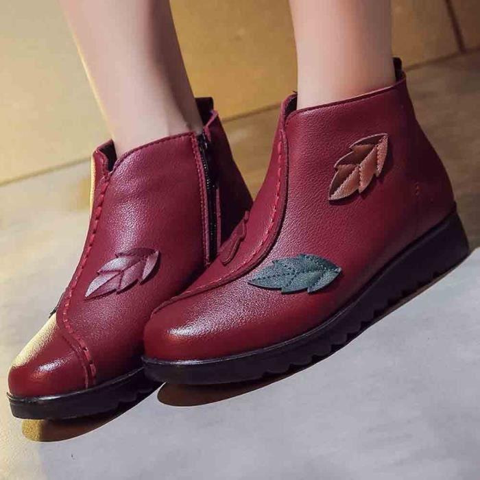 Bottes Hiver Chaussures Talkwemot2218 Bottine Boot Chaud aged Femmes Neige Casual Moyen Femme 6aRCA8q4Rw