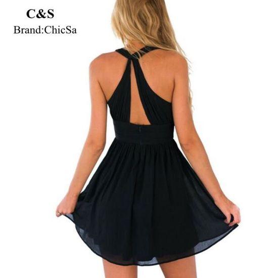 1b9784a56d7 ChicSa Femme Sexy Deep V Neck Robe Mode Européenne Sans Manches Noir Robe  d été Backless Mousseline de Soie Vêtement Noir Noir - Achat   Vente robe -  ...