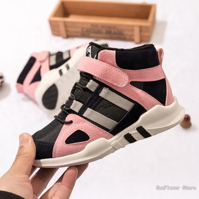 Chaussures Enfants baskets Garçons et Filles Mode Hiver Chaussures de sport Chaussures de course+cotton - Noir rose