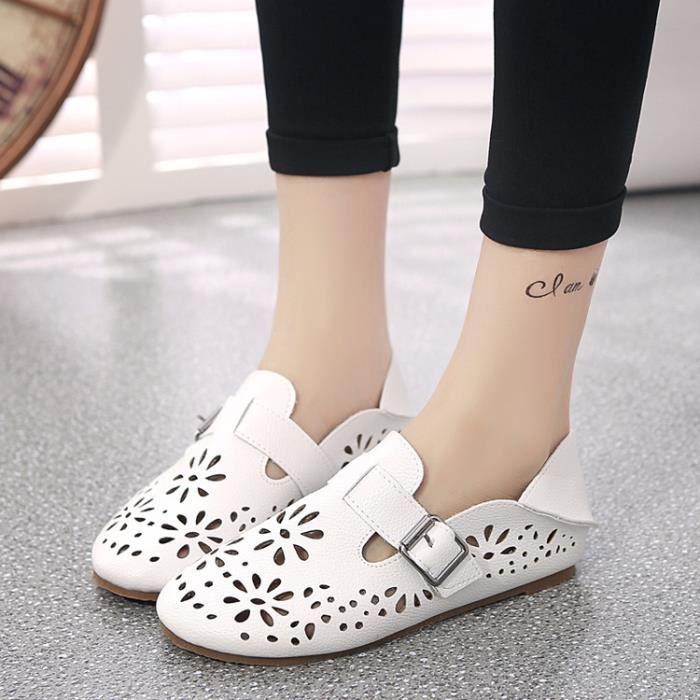De nouvelles femmes Chaussures en cuir Mocassins Mère Mocassins douce Loisirs Flats Femme Chaussures Casual Auto,blanc,5