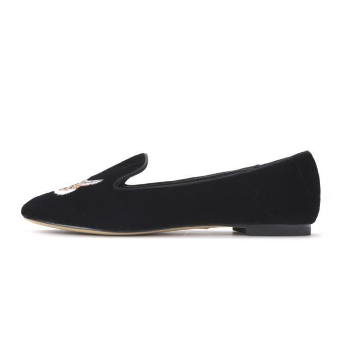 New Fashion Lady chaussures de velours brodé avec Fox Motif Femmes Mocassins Party femmes et appartements de mariage