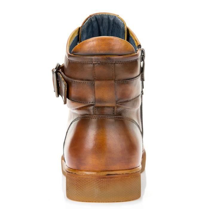 Sullivan bout rond hommes peint à la main en cuir à lacets glissière intérieure et bracelet haut-top Sneaker OMJIX Taille-49 1-2