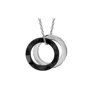 SAUTOIR ET COLLIER Collier argent rhodié céramique noire 2 anneaux 40
