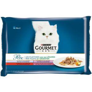 Gourmet Pâtée pour chat perle les filletines avec légumes multivariétés 4x85g