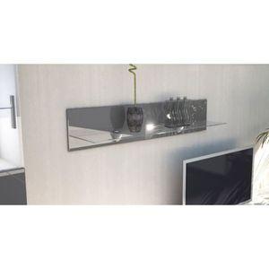 ETAGÈRE MURALE Etagère laquée grise en bois et verre  98 cm avec
