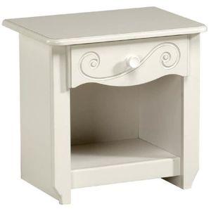 COMMODE DE CHAMBRE CHARME Chevet contemporain laqué blanc - L 47 cm