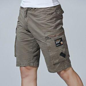 cd6947f35d6d1 Bermuda Homme Coton Short Cargo Homme Multi-Poches Pantalon Court ...
