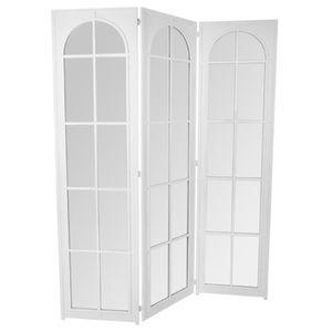 PARAVENT Paravent miroir coloris blanc de 3 pans - 180 x 15