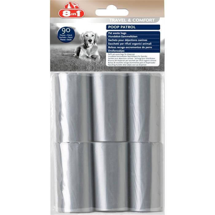 8in1 Poop Patrol sachets de rechange - Pour chien - Pack de 12 pièces - 6 packs