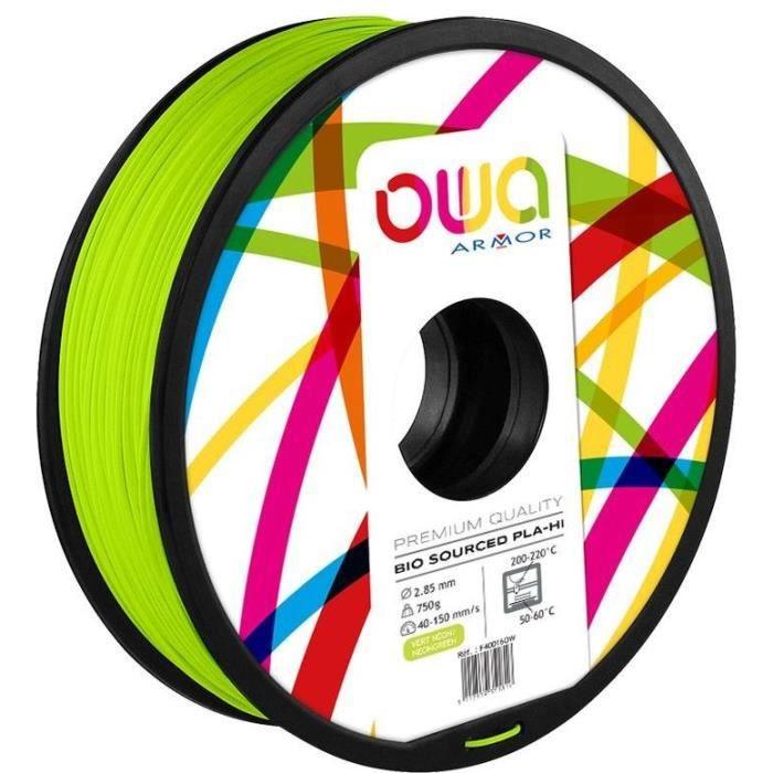 OWA Bobine de Filaments pour imprimante 3D - PLA Hi - Vert fluo