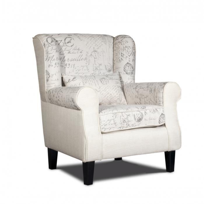 fauteuil confortable en tissu blanc imprim achat vente fauteuil blanc cdiscount. Black Bedroom Furniture Sets. Home Design Ideas