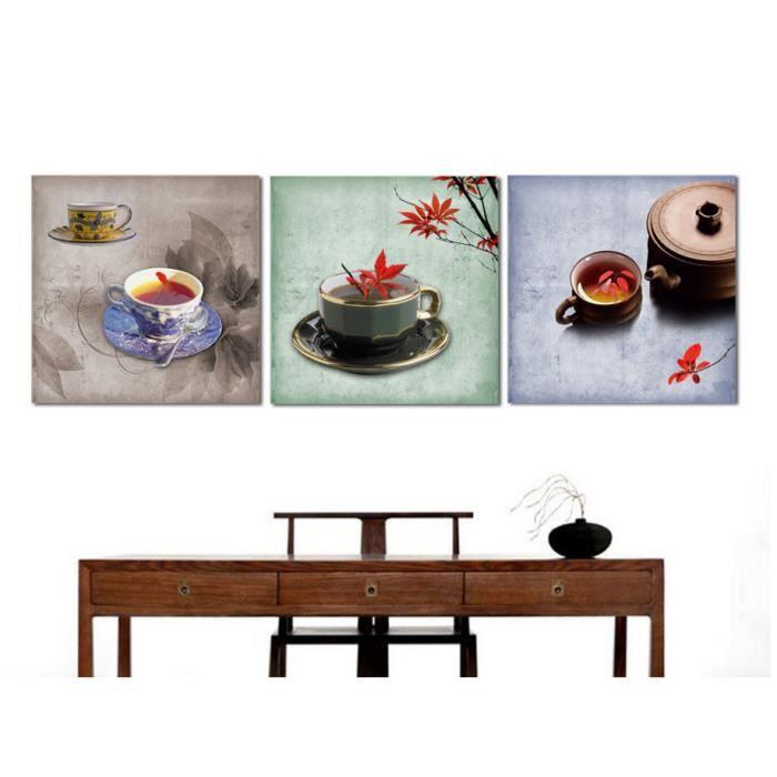 OBJET DÉCORATION MURALE les peintures de style chinois 3 morceaux thé spra
