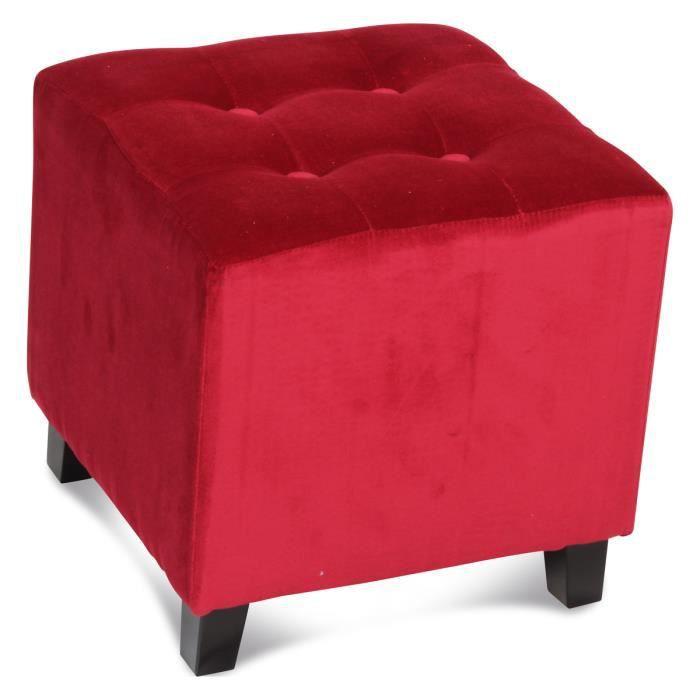 pouf capitonn velours rouge am lie achat. Black Bedroom Furniture Sets. Home Design Ideas