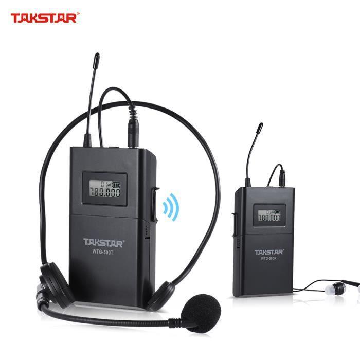 Ammoon Takstar Wtg-500 Uhf Système De Transmission Acoustique Sans Fil Emetteur Récepteur 6 Canaux Ecran Lcd En Option Avec