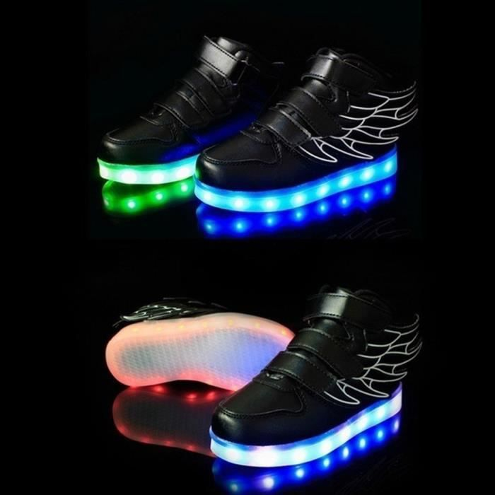 USB Rechargeable Enfants Flash LED lumineux Aile chaussures Sneakers