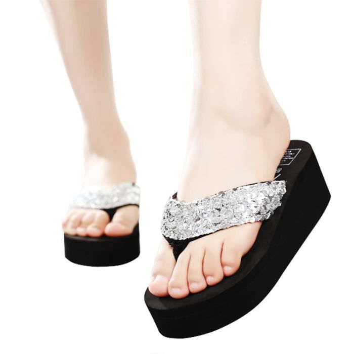 Sandales femmes de la mode des de haut talon Summer Beach paillettes étincelantes anti-dérapant